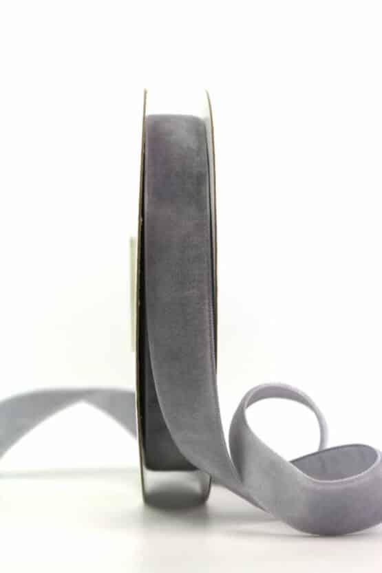 Samtband grau, 15 mm - samtband, geschenkband, dekoband