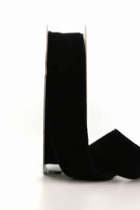 Samtband schwarz, 25 mm - samtband, geschenkband, dekoband
