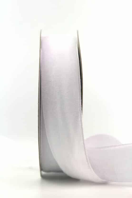Samtband weiß, 25 mm - samtband, geschenkband, dekoband