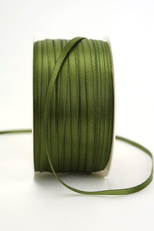 Satinband 3mm, uni olivgrün - sonderangebot, satinband, satinband-budget