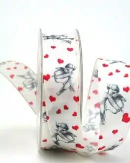 Satinband mit Amor, 25 mm breit - valentinstag, hochzeit, muttertag, anlasse