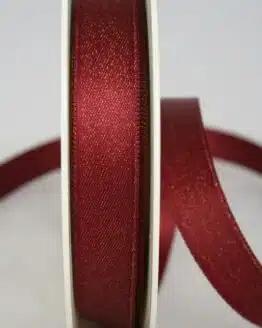 Schimmerndes Satinband bordeaux-gold, 15 mm breit - satinband, geschenkband-weihnachten