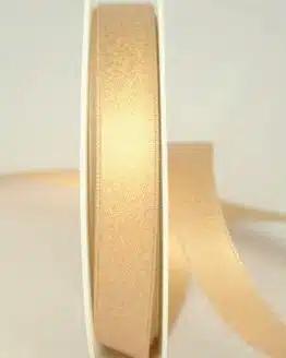 Schimmerndes Satinband creme-gold, 15 mm breit - weihnachtsband, satinband