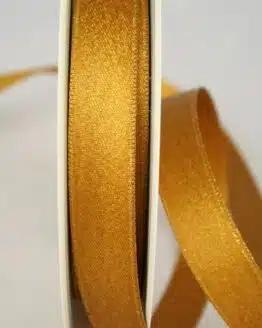 Schimmerndes Satinband kupfer-gold, 15 mm breit - weihnachtsband, satinband, geschenkband-weihnachten