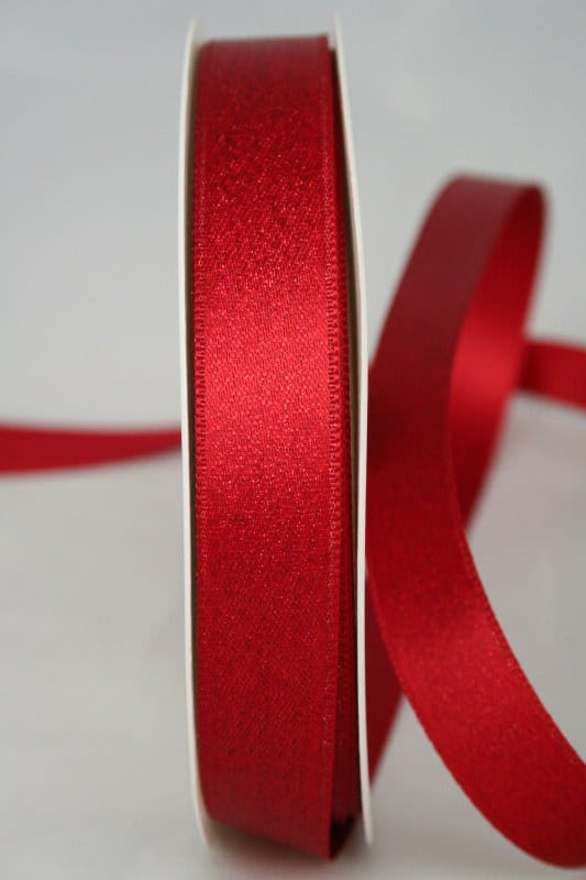 Schimmerndes Satinband rot-gold, 15 mm breit - satinband, geschenkband-weihnachten
