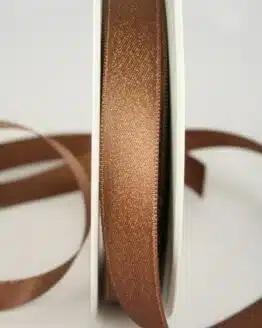 Schimmerndes Satinband braun-gold, 15 mm breit - weihnachtsband, satinband, geschenkband-weihnachten
