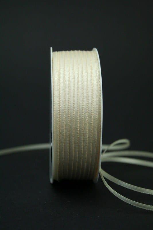 Satinband 'double face' creme, 3 mm breit - hochzeit, anlasse