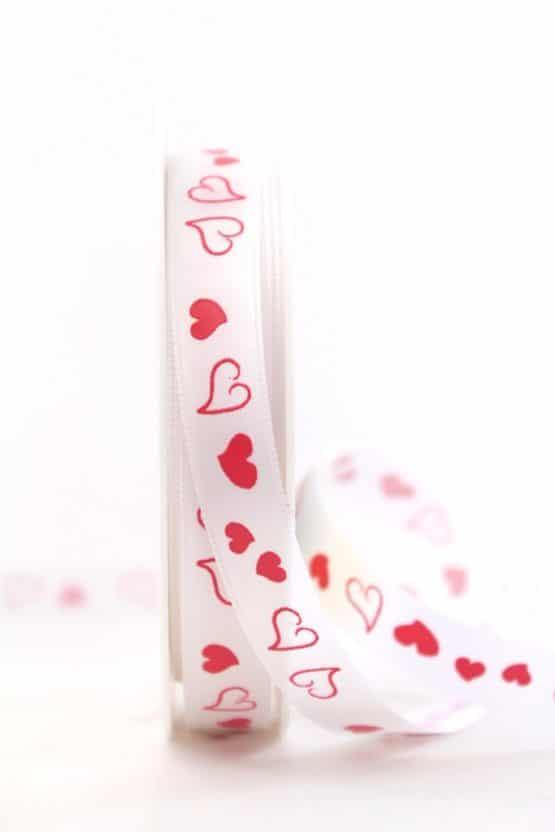 Satinband mit roten Herzen, 15 mm breit - valentinstag, hochzeit, muttertag, hochzeitsdeko, geschenkband-mit-herzen, anlasse