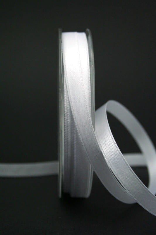 Satinband 'double face' weiß, 10 mm breit - hochzeit, anlasse