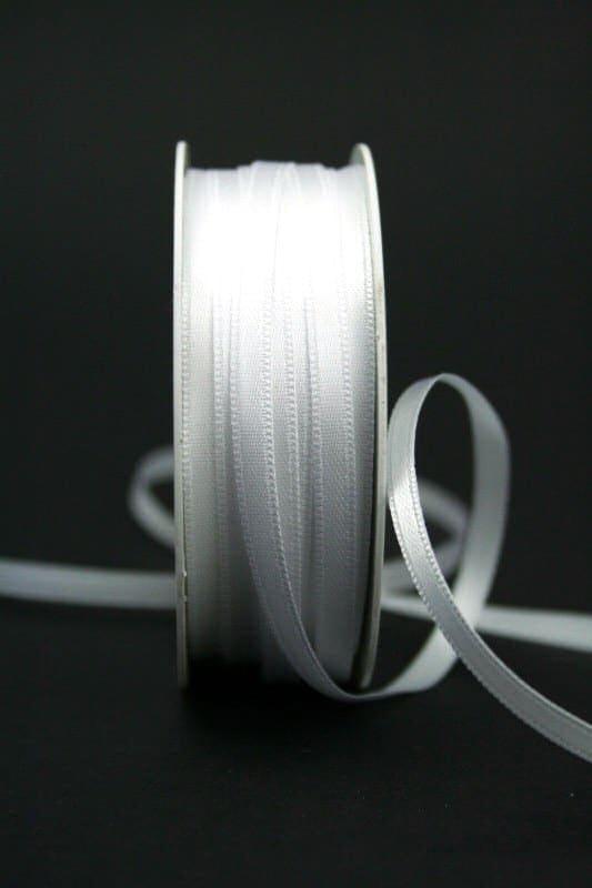 Satinband 'double face' weiß, 6 mm breit - hochzeit, anlasse