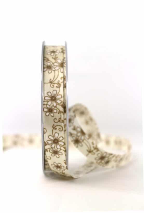 Satinband mit Blüten, braun, 15 mm breit - geschenkband-gemustert
