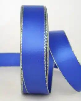 Satinband mit Goldkante, 25 mm breit, blau - sonderangebot, satinband-m-goldkante