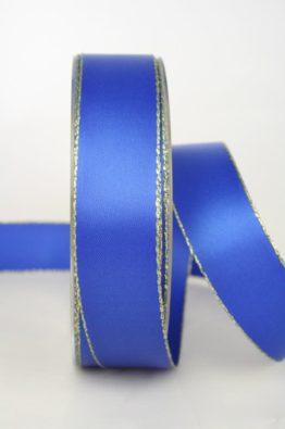 Satinband mit Goldkante 25mm, blau