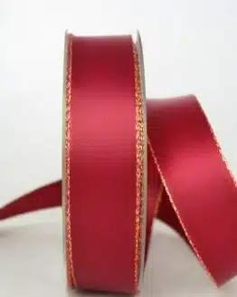 Satinband mit Goldkante, 25 mm breit, bordeaux - sonderangebot, satinband-m-goldkante