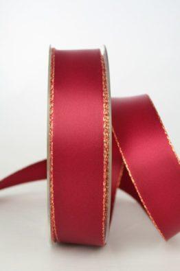 Satinband mit Goldkante, 25 mm, bordeaux