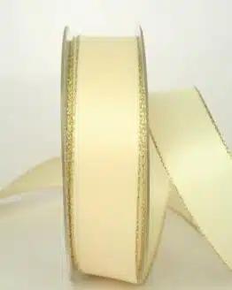 Satinband mit Goldkante, 25 mm breit, creme - sonderangebot, satinband-m-goldkante
