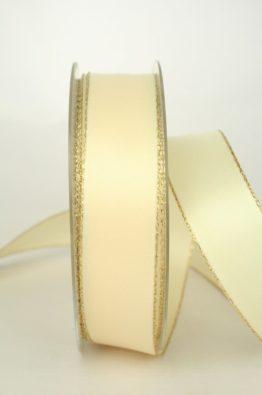 Satinband mit Goldkante 25mm, creme