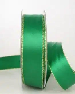 Satinband mit Goldkante, 25 mm breit, dunkelgrün - sonderangebot, satinband-m-goldkante
