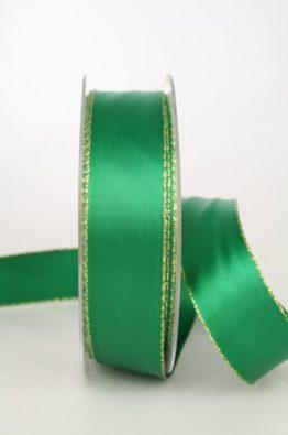 Satinband mit Goldkante, 25mm breit, dunkelgrün