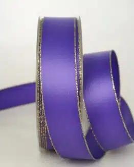 Satinband mit Goldkante, 25 mm breit, lila - sonderangebot, satinband-m-goldkante