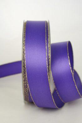 Satinband mit Goldkante, 25mm breit, lila