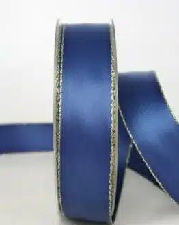 Satinband mit Goldkante, 25 mm breit, marine - sonderangebot, satinband-m-goldkante