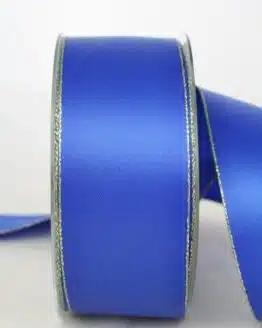 Satinband mit Goldkante, 40 mm breit, blau - sonderangebot, satinband-m-goldkante
