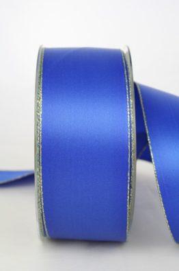 Satinband mit Goldkante, 40mm, blau