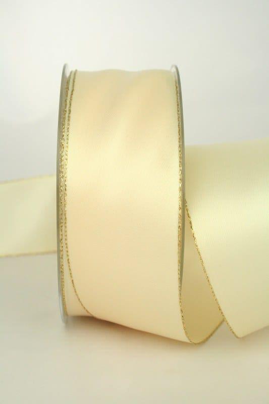 Satinband mit Goldkante, 40 mm breit, creme - satinband, satinband-m-goldkante