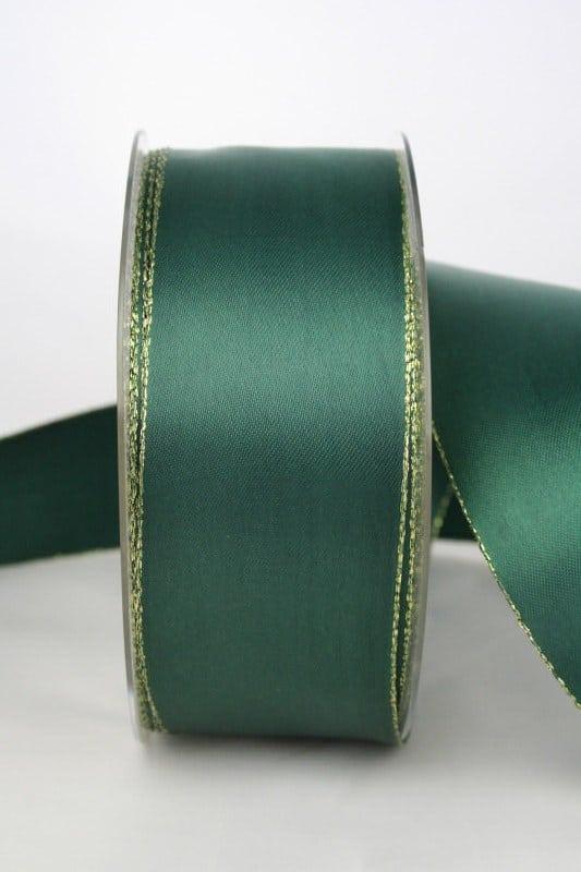 Satinband mit Goldkante, 40 mm breit, dunkelgrün - satinband, satinband-m-goldkante