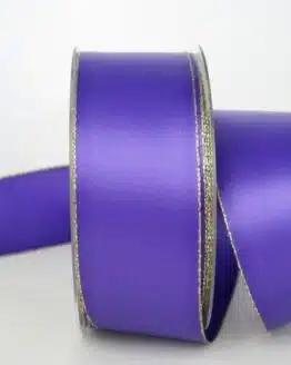 Satinband mit Goldkante, 40 mm breit, lila - sonderangebot, satinband-m-goldkante