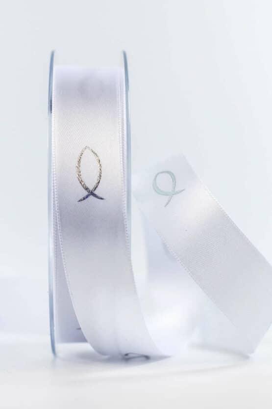 Satinband Fische für Kommunion/Konfirmation, 25 mm breit - kommunion-konfirmation, geschenkband-fuer-anlaesse, anlasse
