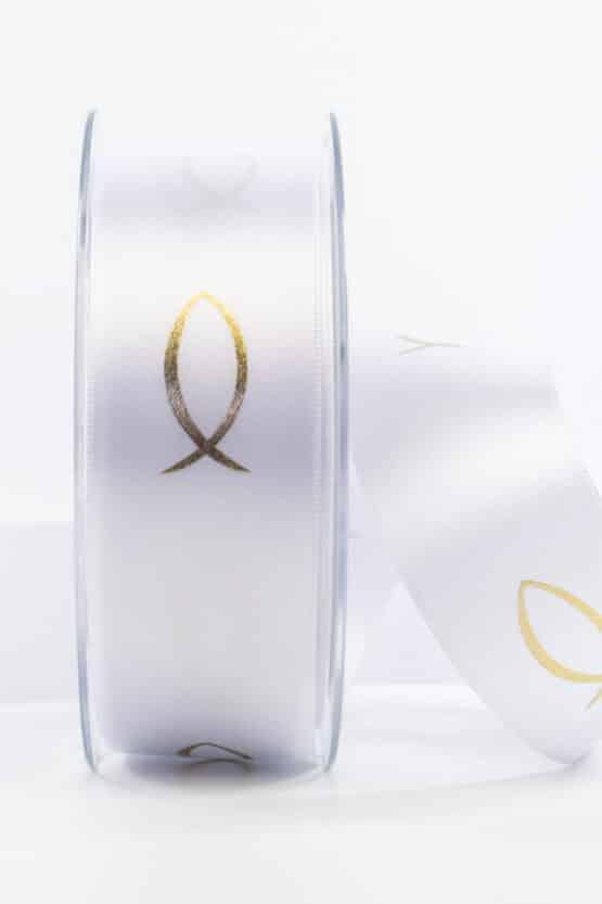 Satinband Fische für Kommunion/Konfirmation, gold, 40 mm breit - kommunion-konfirmation, geschenkband-fuer-anlaesse, anlasse