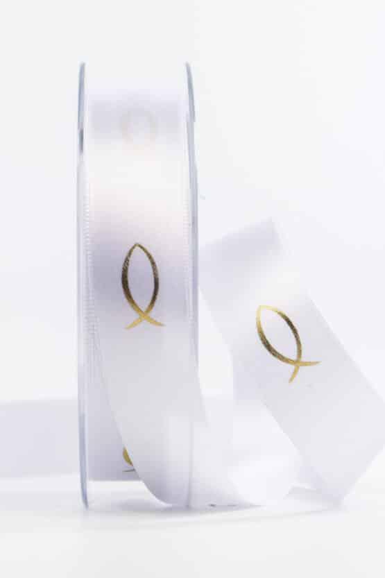Satinband Fische für Kommunion/Konfirmation, gold, 25 mm breit - kommunion-konfirmation, geschenkband-fuer-anlaesse, anlasse