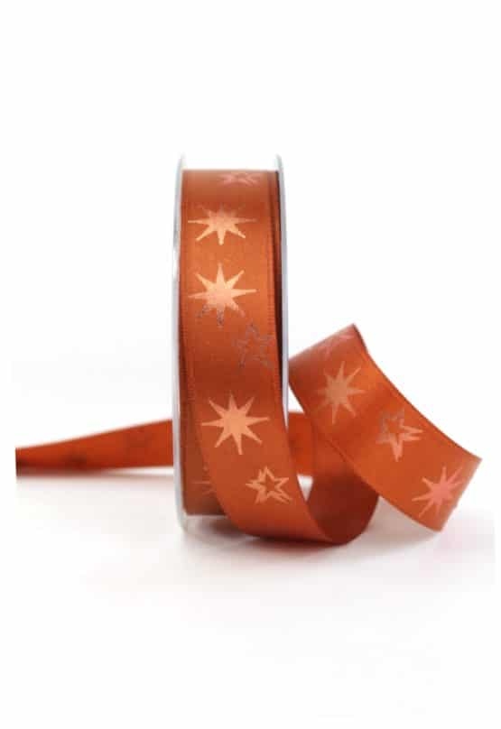 Satinband mit Sternen, cognac, 25 mm breit - geschenkband-weihnachten-gemustert, geschenkband-weihnachten