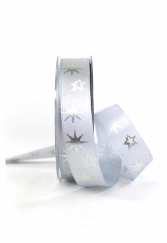 Satinband mit Sternen, grau, 25 mm breit - geschenkband-weihnachten-gemustert, geschenkband-weihnachten