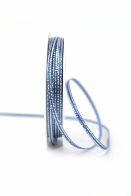 Schmales Satinband hellblau m. Silberkante, 3 mm breit - geschenkband-weihnachten-einfarbig, geschenkband-weihnachten
