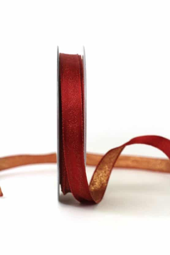 Zweiseitiges Satinband bordeaux-gold, 15 mm breit - geschenkband-weihnachten-einfarbig, geschenkband-weihnachten