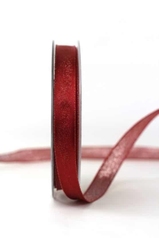 Zweiseitiges Satinband bordeaux-silber, 15 mm breit - geschenkband-weihnachten-einfarbig, geschenkband-weihnachten