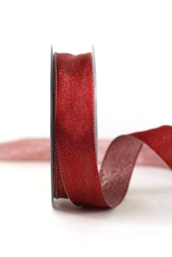 Zweiseitiges Satinband bordeaux-silber, 25 mm breit - geschenkband-weihnachten-einfarbig, geschenkband-weihnachten