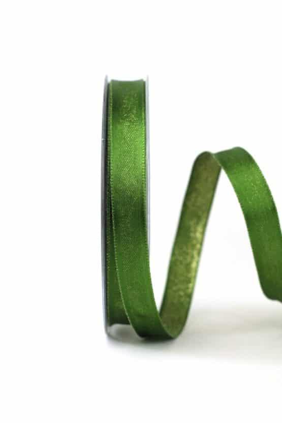 Zweiseitiges Satinband grün-gold, 15 mm breit - geschenkband-weihnachten-einfarbig, geschenkband-weihnachten