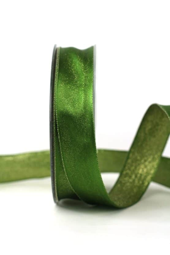 Zweiseitiges Satinband grün-gold, 25 mm breit - geschenkband-weihnachten-einfarbig, geschenkband-weihnachten