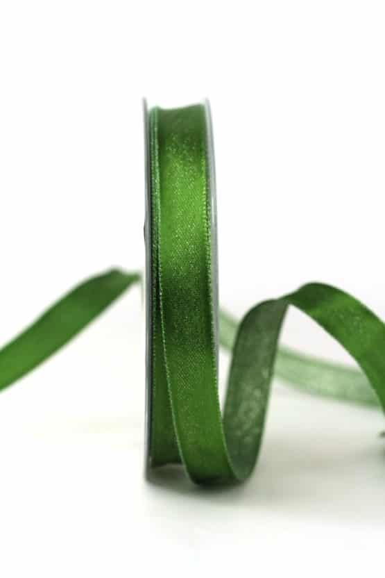 Zweiseitiges Satinband grün-silber, 15 mm breit - geschenkband-weihnachten-einfarbig, geschenkband-weihnachten