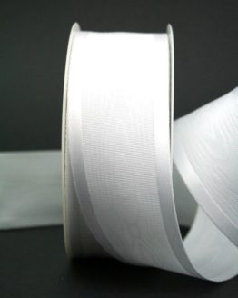Schleifenband weiß, Moiré mit Satin, 40 mm breit - hochzeit, anlasse