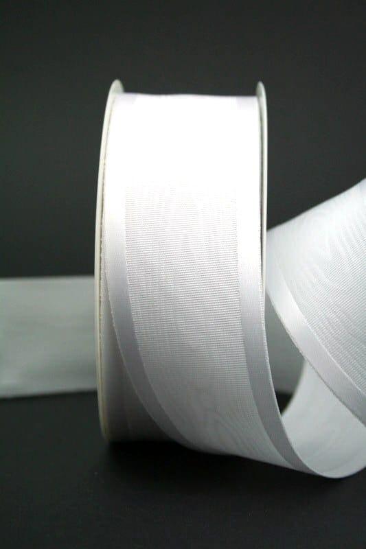 Moiré-Schleifenband weiß, 40 mm breit - hochzeit, anlasse