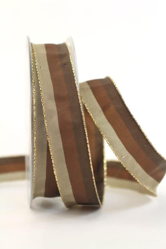 Weihnachtsband Streifen, braun-taupe, 25 mm breit - geschenkband-weihnachten-gemustert, geschenkband-weihnachten