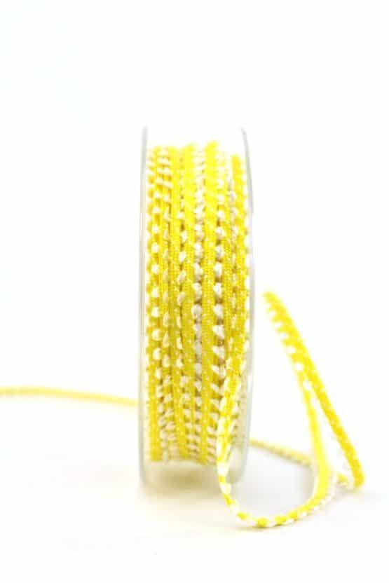 Schmales Dekoband, gelb-weiß, 7 mm breit - geschenkband-gemustert
