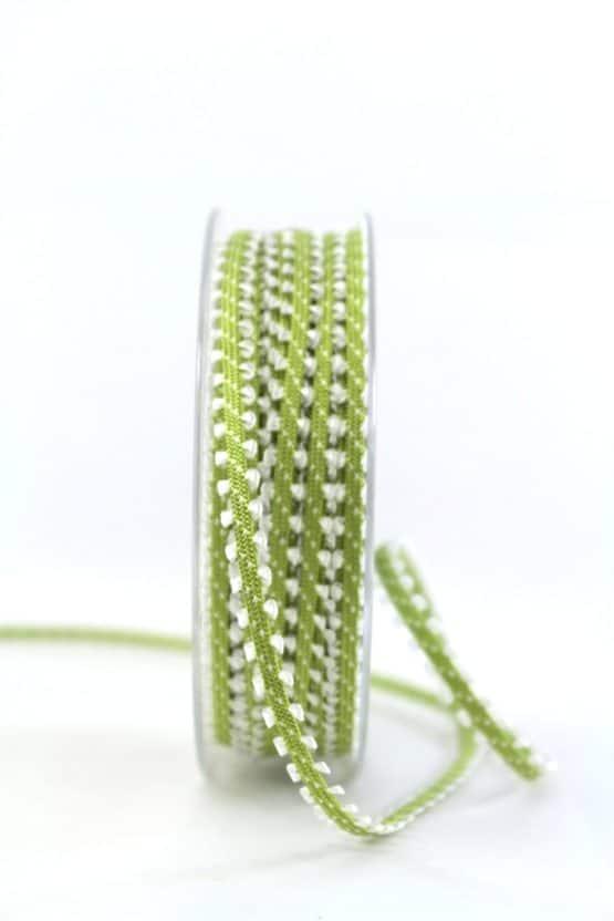 Schmales Dekoband, grün-weiß, 7 mm breit - geschenkband-gemustert
