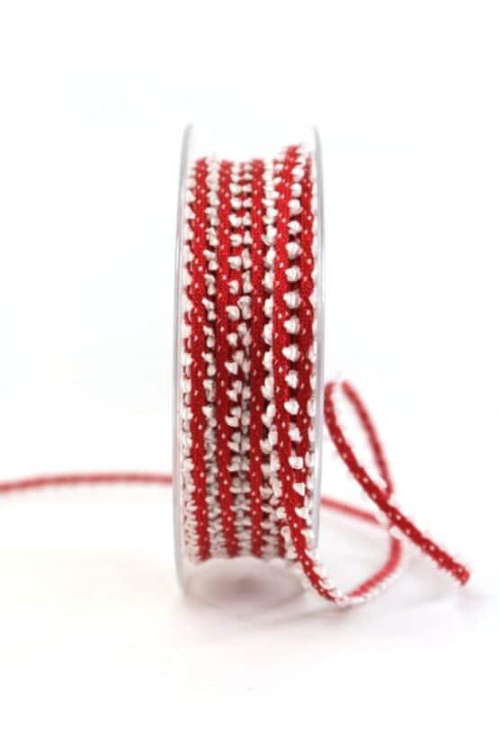 Schmales Dekoband, rot-weiß, 7 mm breit - geschenkband-gemustert