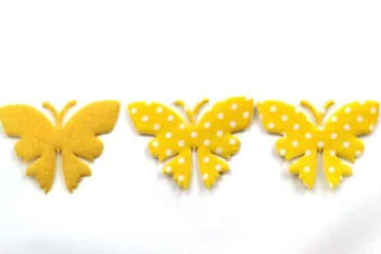 Schmetterling mit Punkten, gelb, 52 mm, 20 Stück - accessoires